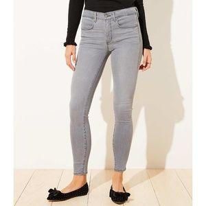 LOFT Petite Cozy Denim Skinny Jean Leggings Grey
